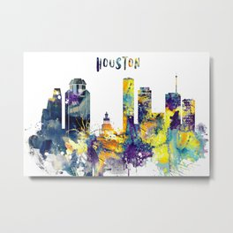 Houston city watercolor cityscape Metal Print
