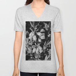 Tiny Blossoms On A Dirt Road in Black and White Unisex V-Neck