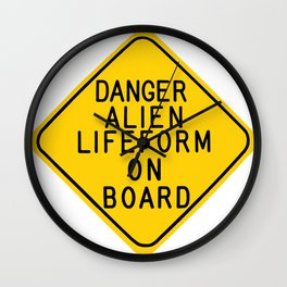 Alien On Board Warning Sign Wall Clock