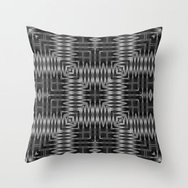 SMUT - charcoal grey and black abstract repeating square pattern Throw Pillow