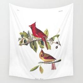 Cardinal grosbeak, Birds of America, Audubon Plate 159 Wall Tapestry