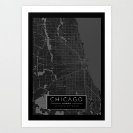 Chicago Map - Black and White (Dark) Art Print