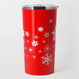 Red Christmas Snowflake  Banner Travel Mug