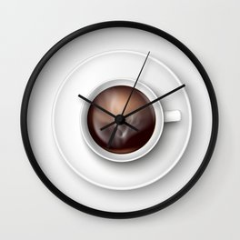 cup of coffee on a white background Wall Clock