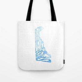 Typographic Delaware - blue watercolor map Tote Bag