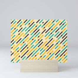 Retro Rounded Diagonal Stripes Mini Art Print