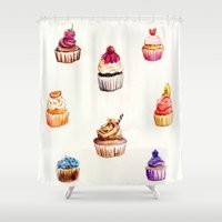 cupcakes Shower Curtains featuring Cupcakes by Mary Rose Illustration