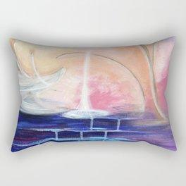 Flourescent Waterfall Painting. Waterfall, Abstract, Blue, Pink. Water. Jodilynpaintings. Rectangular Pillow