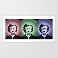 edgar allen poe Art Prints featuring Edgar Allen Poe by Michael D'Orazio Art