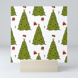 Christmas Tree with gifts and candy canes Mini Art Print