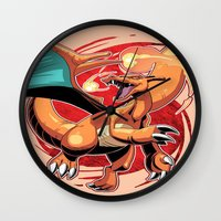 charizard Wall Clocks featuring Charizard by Yamilett Pimentel