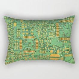 green electronic circuit board Rectangular Pillow