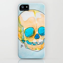 Orange and Blue Skull Watercolor and Ink iPhone Case