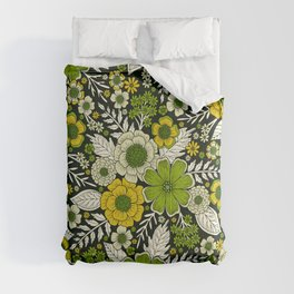 Modern Yellow & Green Floral Pattern Comforters