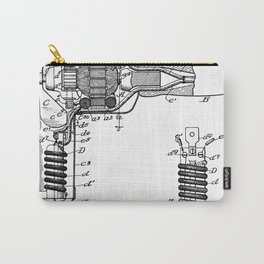 Hair Drier Patent - Salon Art - Black And White Carry-All Pouch