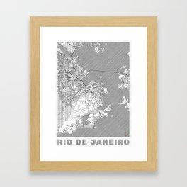 Rio de Janerio Map Line Framed Art Print