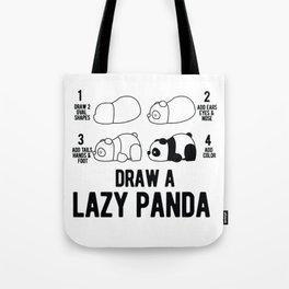 Draw a lazy Panda fun animal step by step painting Tote Bag