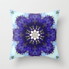 Blue columbine mandala 4 Throw Pillow