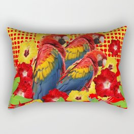 GREEN TROPICAL YELLOW MACAWS & RED YELLOW HIBISCUS Rectangular Pillow