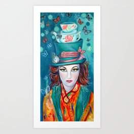 Mad hatter, Alice In wonderland Inspired artwork Art Print