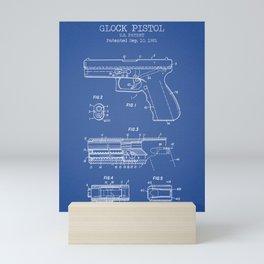 Pistol blue patent Mini Art Print
