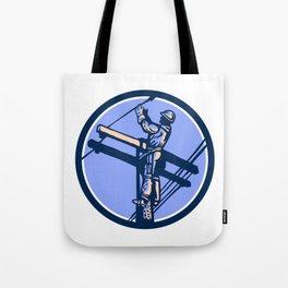 Power Lineman Repairman Climb Pole Retro Circle Tote Bag