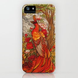 Phoenix with Peony Chrysanthemum and Poppies  iPhone Case