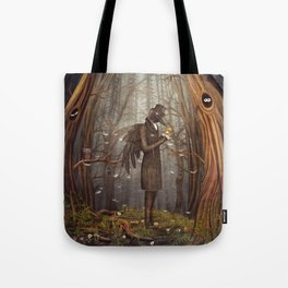 Raven in forest Tote Bag