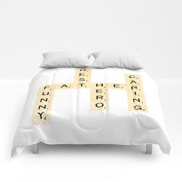 FATHER-FUNNY-BEST-HERO-CARING - Custom Scrabble Art and Accessories for Father's Day Comforters
