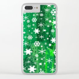 Christmas Winter Wonderland Snowflakes Green Clear iPhone Case