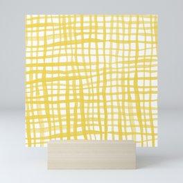 Watercolor doodle gingham - yellow Mini Art Print