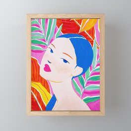 Girl with Ponytail and Palm Framed Mini Art Print
