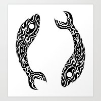 pisces Art Prints featuring Pisces by Mario Sayavedra