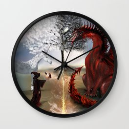The Owl,Wizard,Unicorn and the Dragon Wall Clock