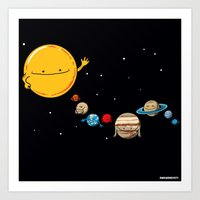 planets Art Prints featuring Planets by awkwardyeti