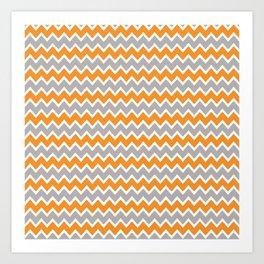 Coral Orange and Gray Grey Chevron Art Print