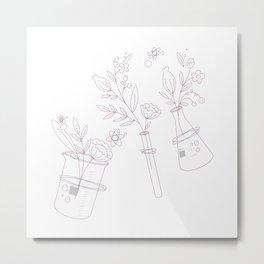 Science fleurissante in pink Metal Print