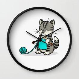 Knitty Kitty Wall Clock