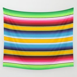 Yellow Blue Red Green Mexican Serape Blanket Stripes Wall Tapestry
