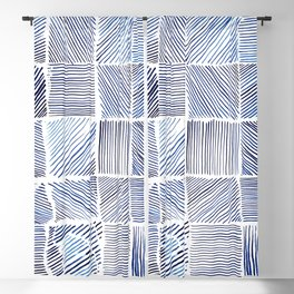 Lines of Blue Blackout Curtain