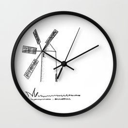 mill on white background . Art Wall Clock