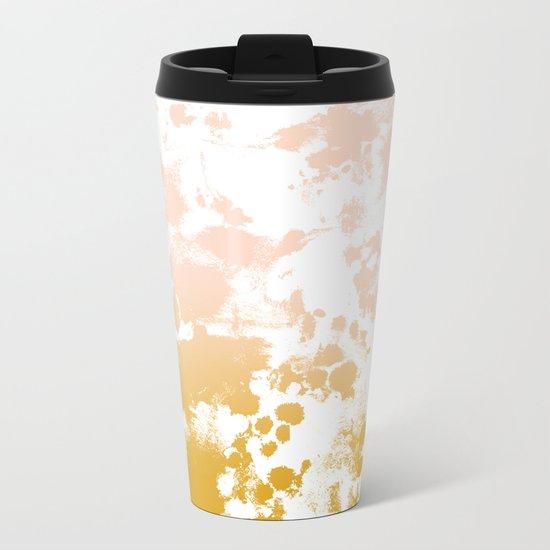 Minimal modern ombre gold to pastel pink abstract art pattern gender neutral Metal Travel Mug