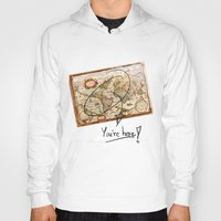 vintage map Hoodies featuring Vintage Map by Diego Tirigall