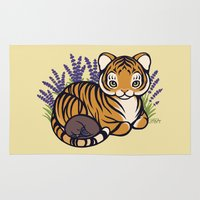 platypus Area & Throw Rugs featuring Loafing Tiger, Hidden Platypus by Spoopy Surprise