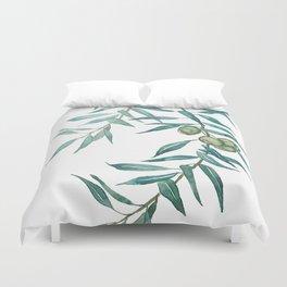 green olive leaf watercolor Duvet Cover