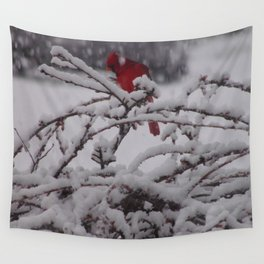 Red Cardinal in the Abyss Wall Tapestry
