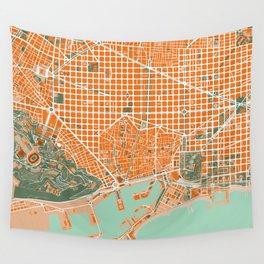 Barcelona city map orange Wall Tapestry