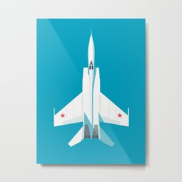 MiG-25 Foxbat Interceptor Jet Aircraft - Cyan Metal Print