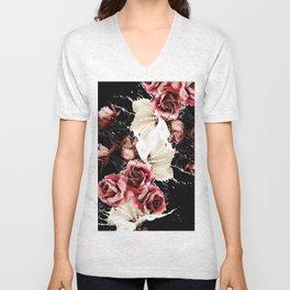Black and pink splashed roses Unisex V-Neck