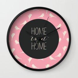 Home Tweet Home - Pink Bird Pattern Wall Clock